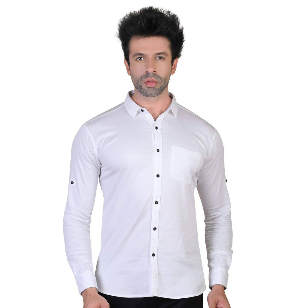 Denim Vistara Men's White Colored Cotton Stretchable Slim Fit Full Sleeves Shirt
