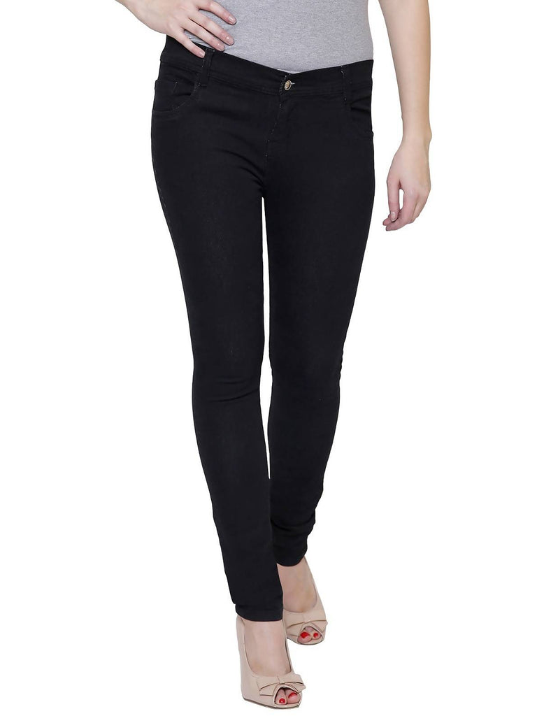 Pavis, Women Skinny Fit, Black, Dobby Denim Jeans