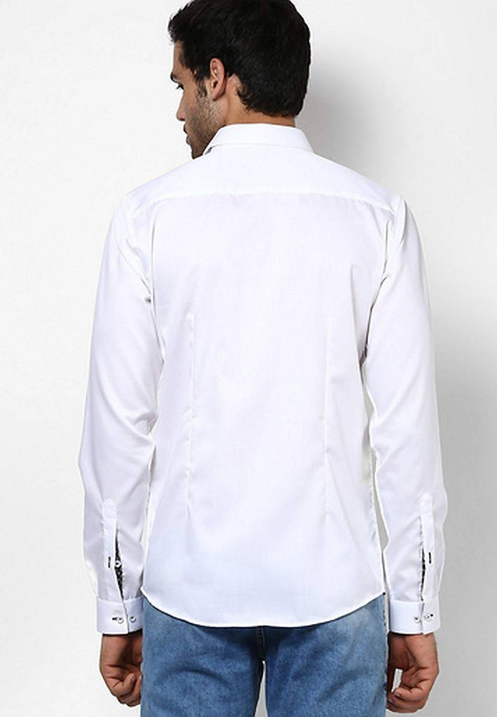 Alvin Kelly Solid White Color Casual Men's Shirt