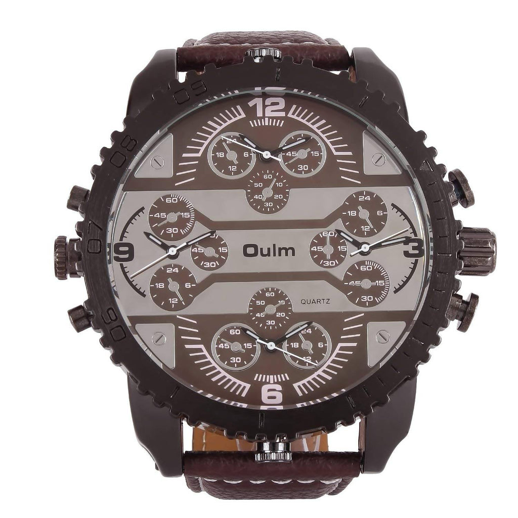 Oulm HP3233GUNBR Multifunction Brown Dial Leather Strap Wrist Watch / Casual Watch - For Men's