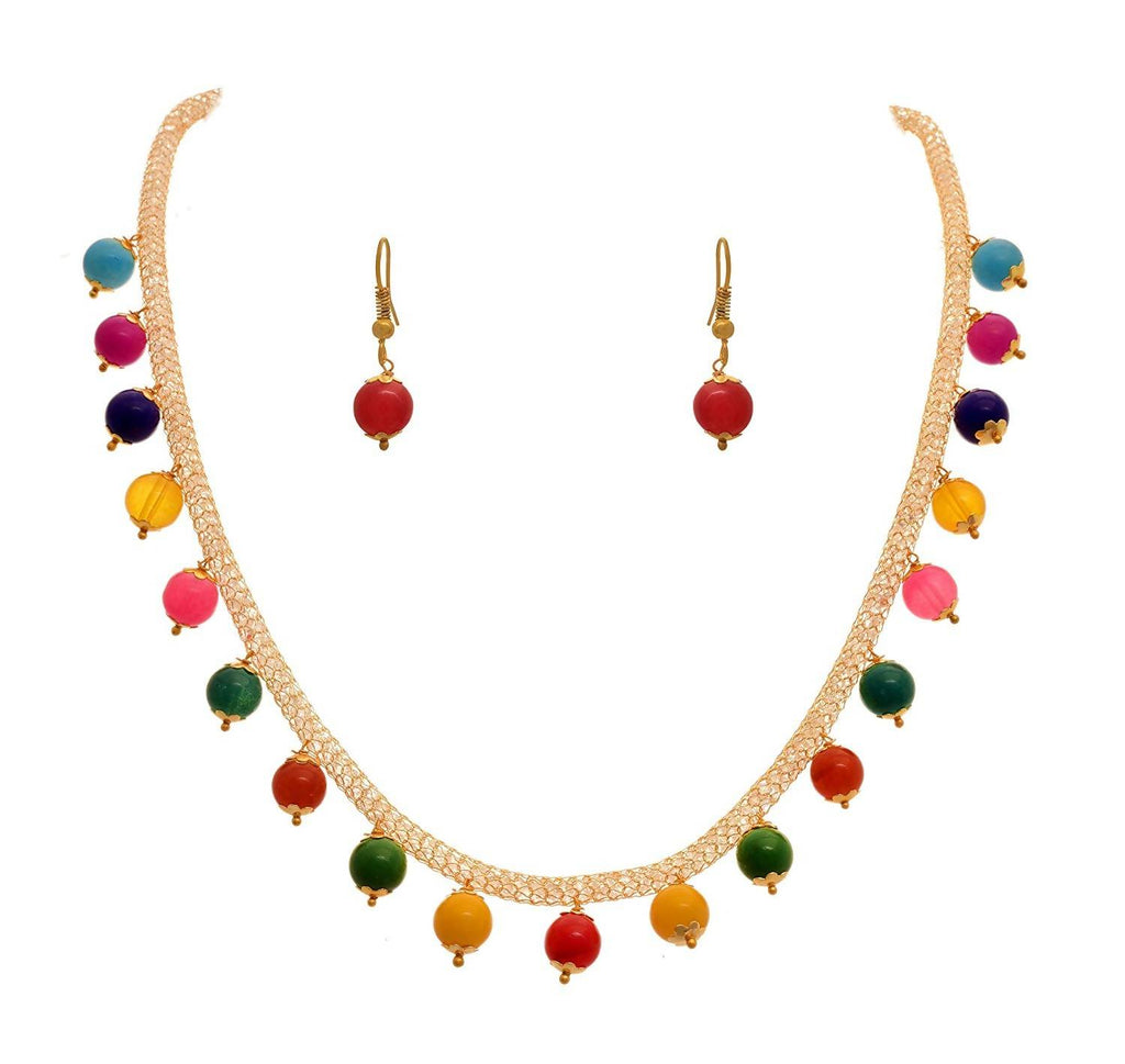JFL - Jewellery for Less Fusion Ethnic One Gram Gold Plated Multi-Colour Bead Designer Necklace Set for Girls and Women