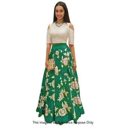 Madhav Design Embroidered Semi Stitched Lehenga Choli (Green)