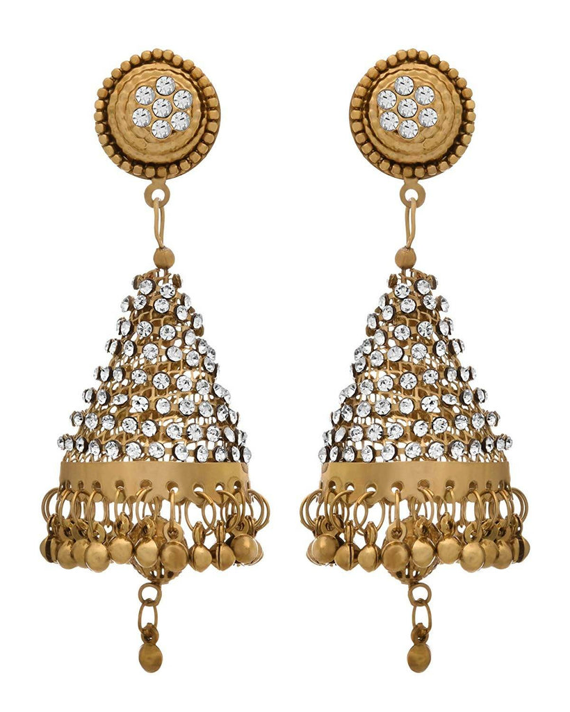 JFL -Traditional Ethnic One Gram Gold Plated Cone shape Diamond jhumka Earring for Women & Girls.