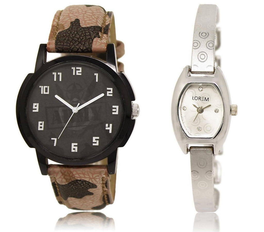 LOREM LR3-219 Stylish Silver & Black Contemporary & Round Boy's & Girl's Metal Bracelet & Leather Watch - For Men & Women