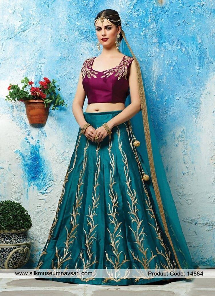 Madhav Design Jenny Blue Lehenga Embroidered Semi Stitched Lehenga, Choli and Dupatta Set  (Blue)