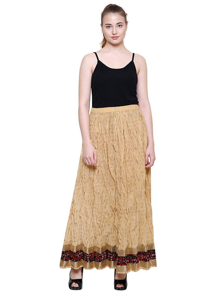 DAMEN MODE Women Golden Printed Designer Wrinkled Crush Cotton Skirt