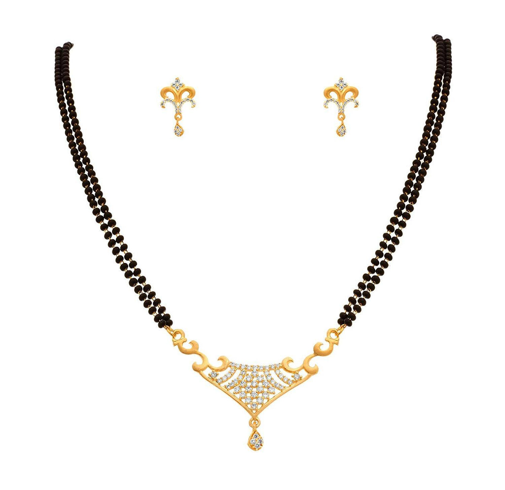 JFL - Traditional Ethnic One Gram Gold Plated Cubic Zirconia Diamond Designer Mangalsutra Jewellery set with Earring for Women.