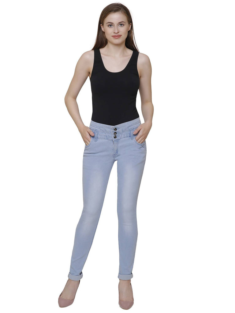 Lufaa, Women Skinny Fit, Ice Blue, Dobby Denim Jeans