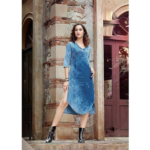 Kumb-X by Sparrow 1132 Designer Beautiful Colorful Fancy Stylish Party Wear & Ethnic Wear Cotton Denim Kurtis