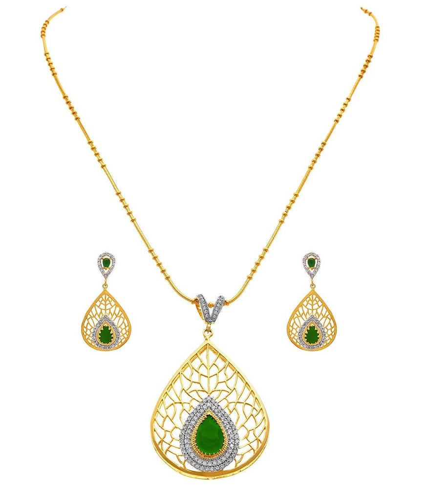 JFL - Traditional Ethnic One Gram Gold Plated Cz American Diamond Designer Pendant with Intricate Jali Work for Women & Girls.