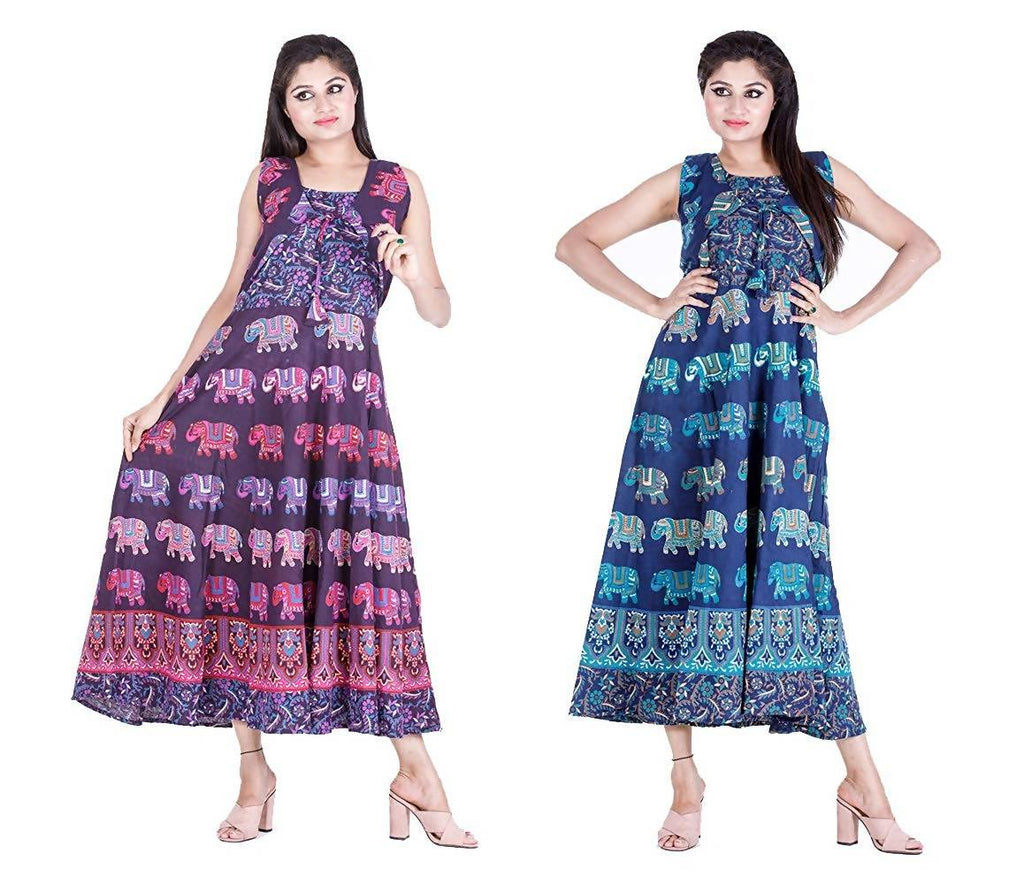 Dhruvi Combo Pack Printed Jaipuri Cotton Long Maxi Dress Flared Long Kurti with Attached Jacket and Sleeves (Free Size, Size-S-XXL)