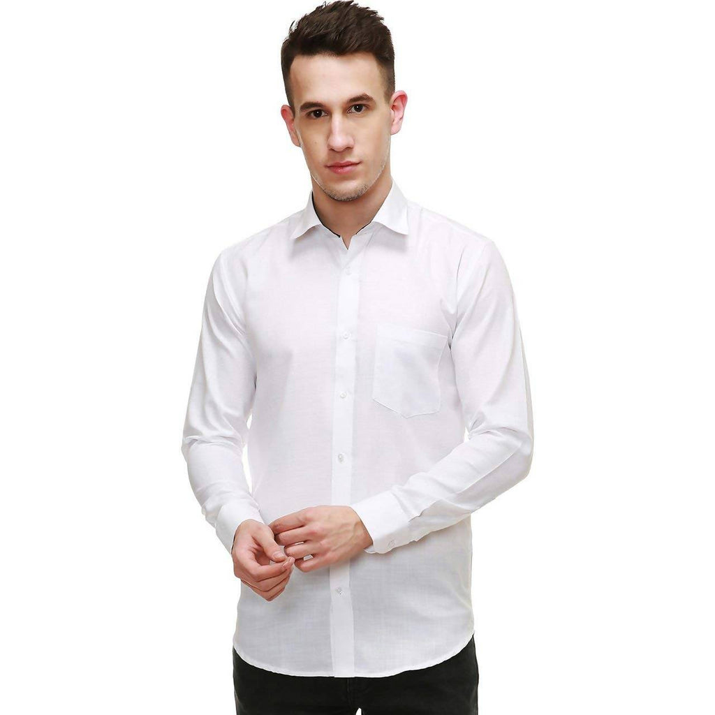 NIMEGH WHITE COLORED COTTON CASUAL SOLID SHIRT FOR MEN'S