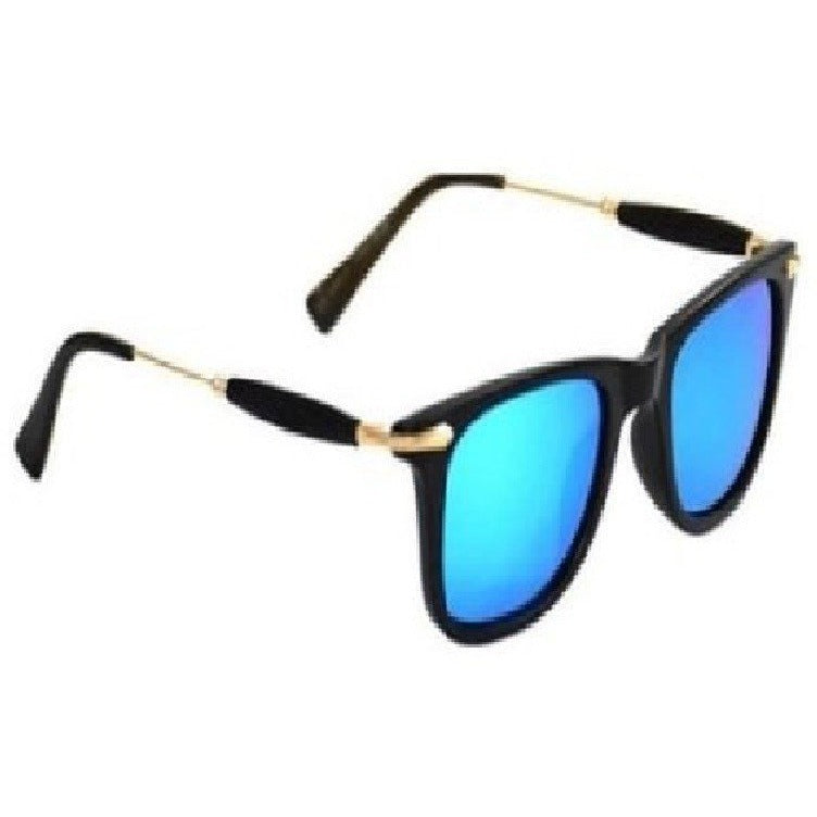 Aqua Blue Square Golden Sunglass For Men