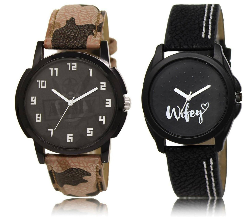 LOREM LR3-234 COMBO Black Round Boy's & Girl's Leather Watch - For Men & Women