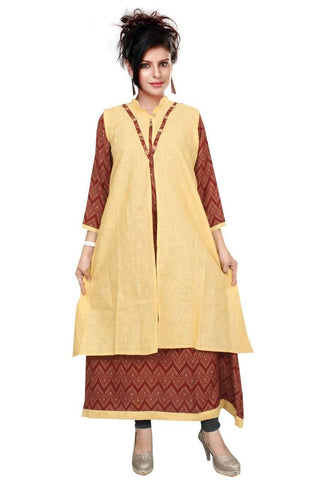 Long Brown Gown Semi-Stitched Reyon & Cotton