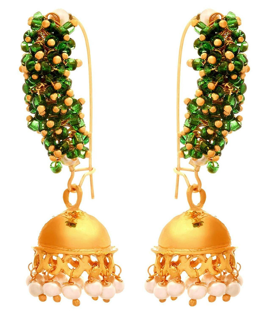 JFL - Traditional and Ethnic One Gram Gold Plated Moti Designer Small Jhumki Bali Earring for Girls and Women