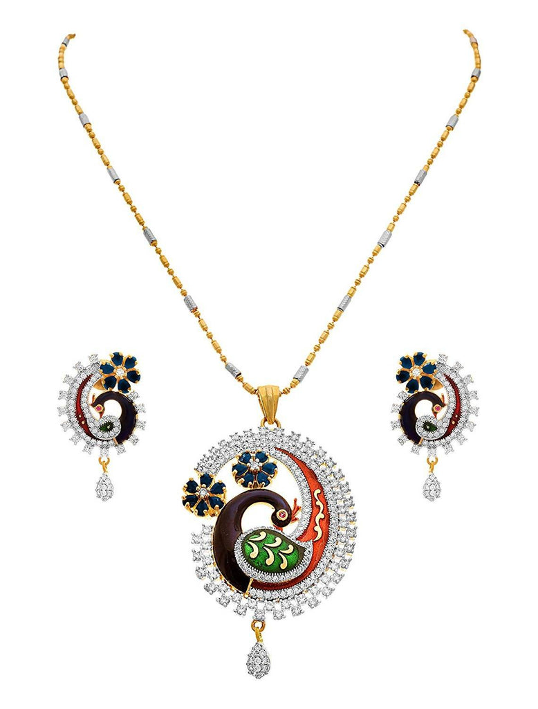 JFL - Traditional Ethnic One Gram Gold Plated Cz American Diamond with Meenakari Peacock Designer Pendant Set for Girls & Women.
