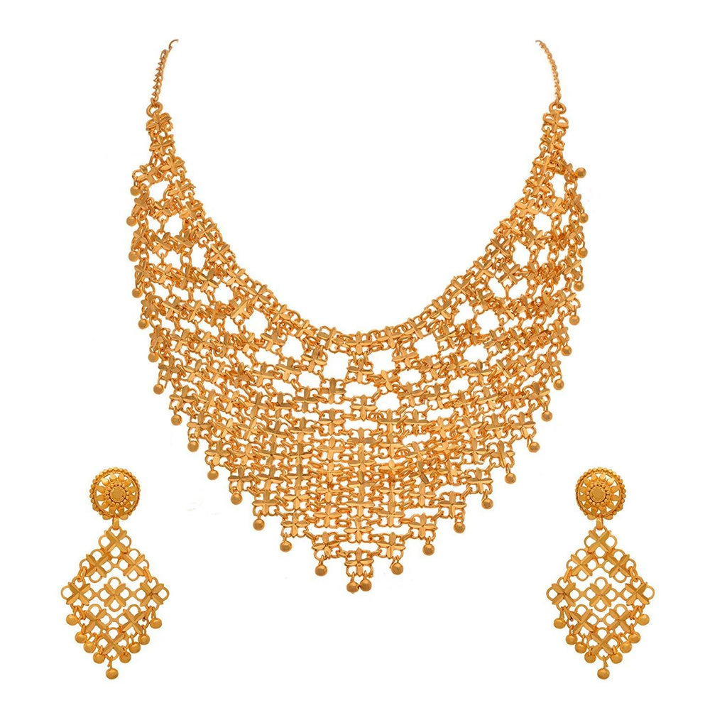 JFL- Traditional Ethnic One Gram Gold Plated Choker Designer Necklace Set with Intricate Jali Work for Women.