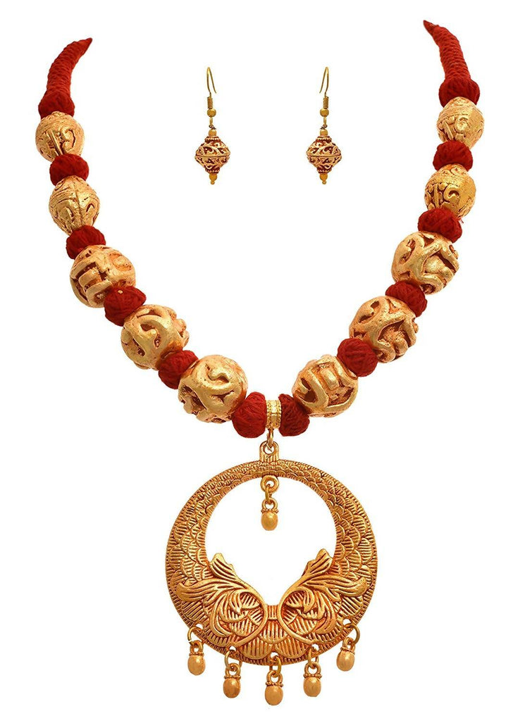 JFl -Traditional Ethnic One Gram Gold Plated Designer Necklace Set for Womens.