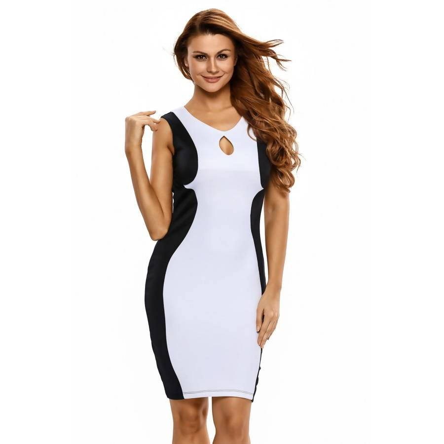 LOVEMATE WHITE AND BLACK SOLID MINI PARTY DRESS