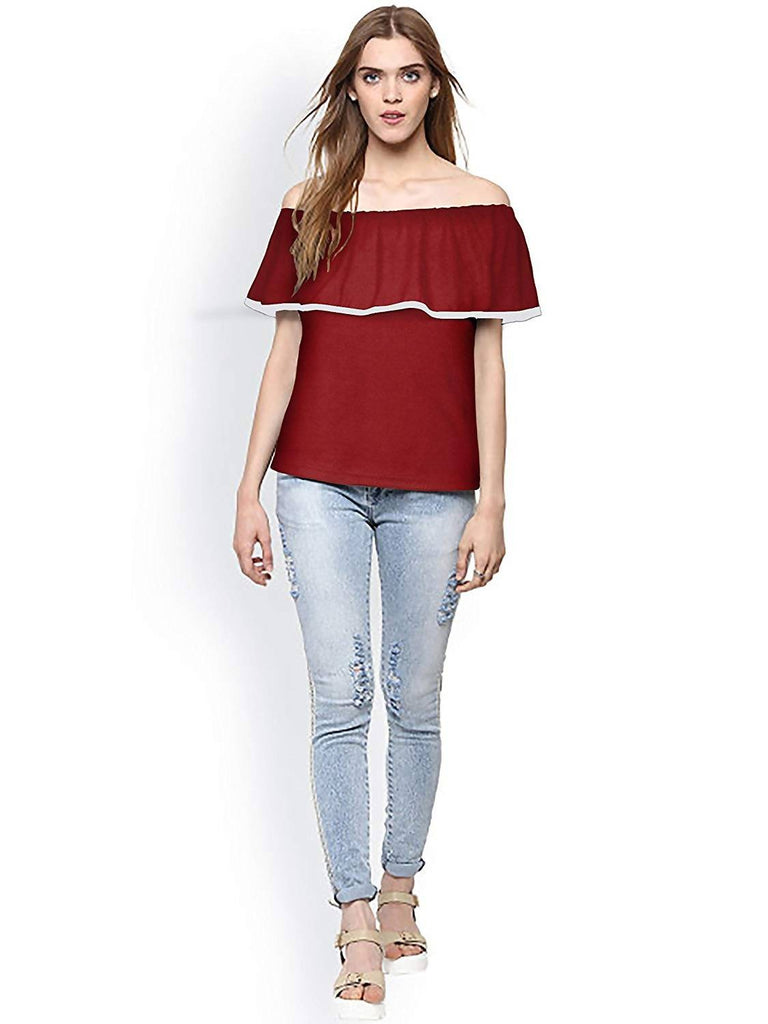Harshita Creation HC Designer Round Neck Sleeveless T-Shirt Tops for Women Girls Party Wear Stylish Tops T-Shirt, Ladies Fancy Maroon T-Shirt, Latest Fashion Trends Shirts, Tees, Tops