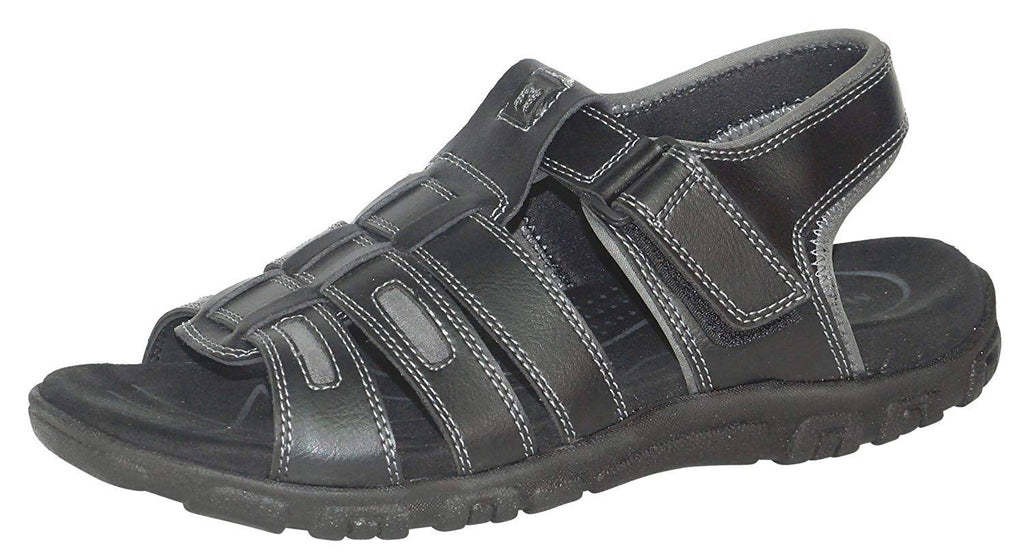 Medifeet Men Leather Black Sandal_MF-225-BLACK
