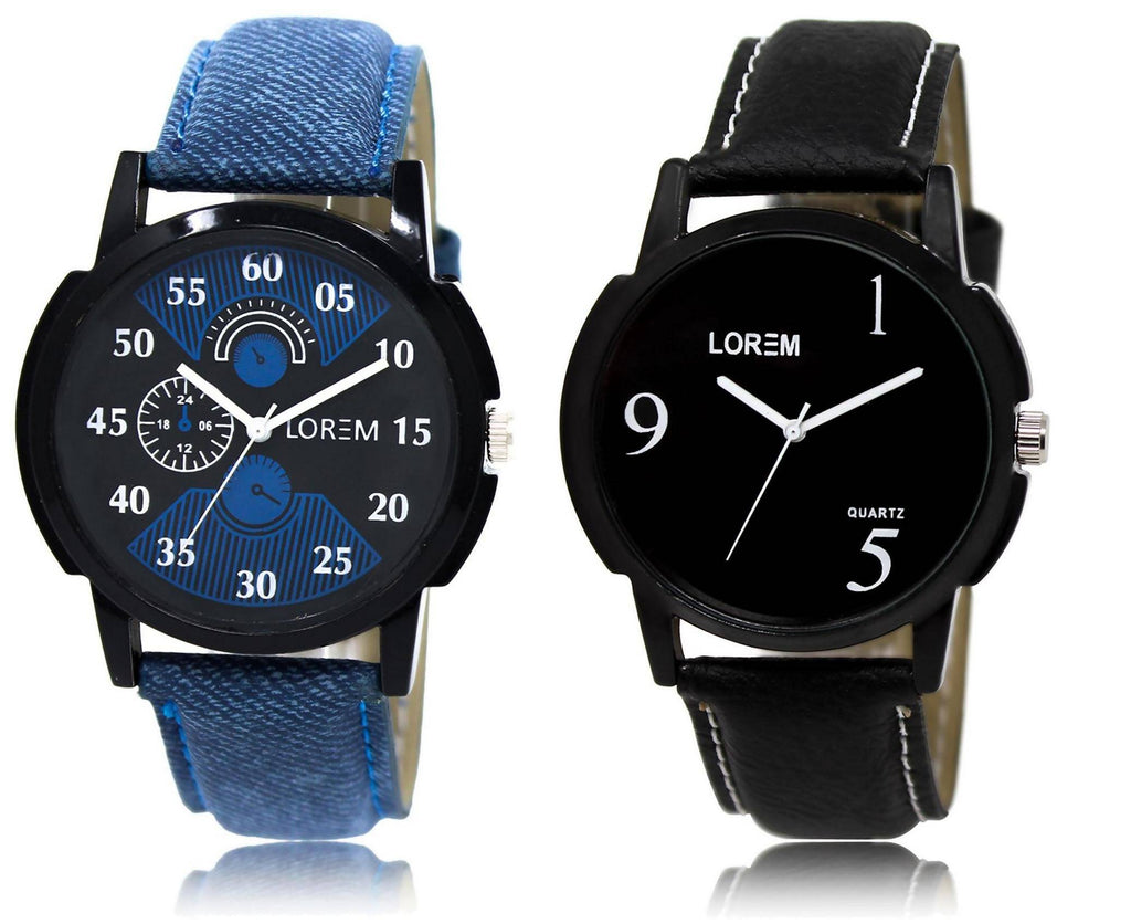 LOREM LR2-6 COMBO Black Round Boy's Leather Watch - For Men