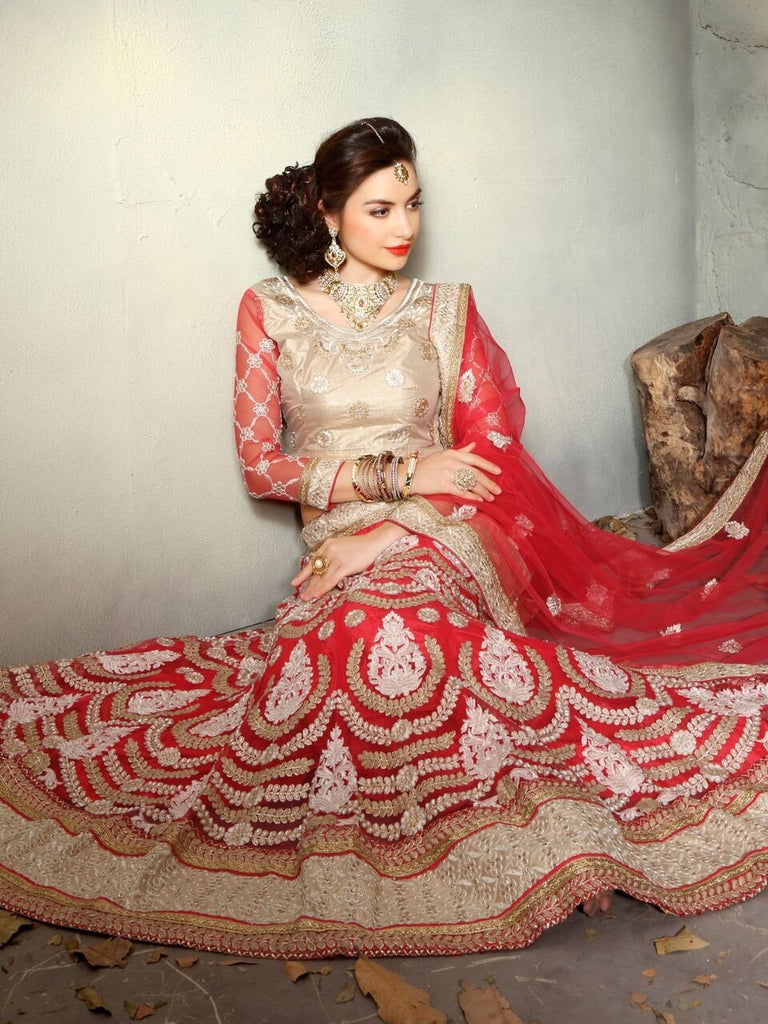 Aasvaa Glorious Women's Embroidered Net Lehenga Choli With Un-Stitched Blouse (MIKLA60B_Red_Free Size)
