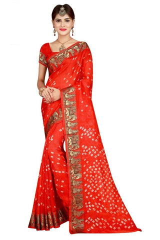HARSHITA CREATION ART SILK ORANGE HAND WOWEN BANDHANI SAREE