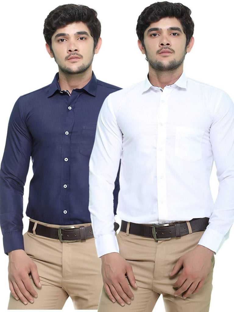 Nimegh Navy Blue and Snow White Colored Cotton Casual Solid Shirt For Men (Pack of 2)