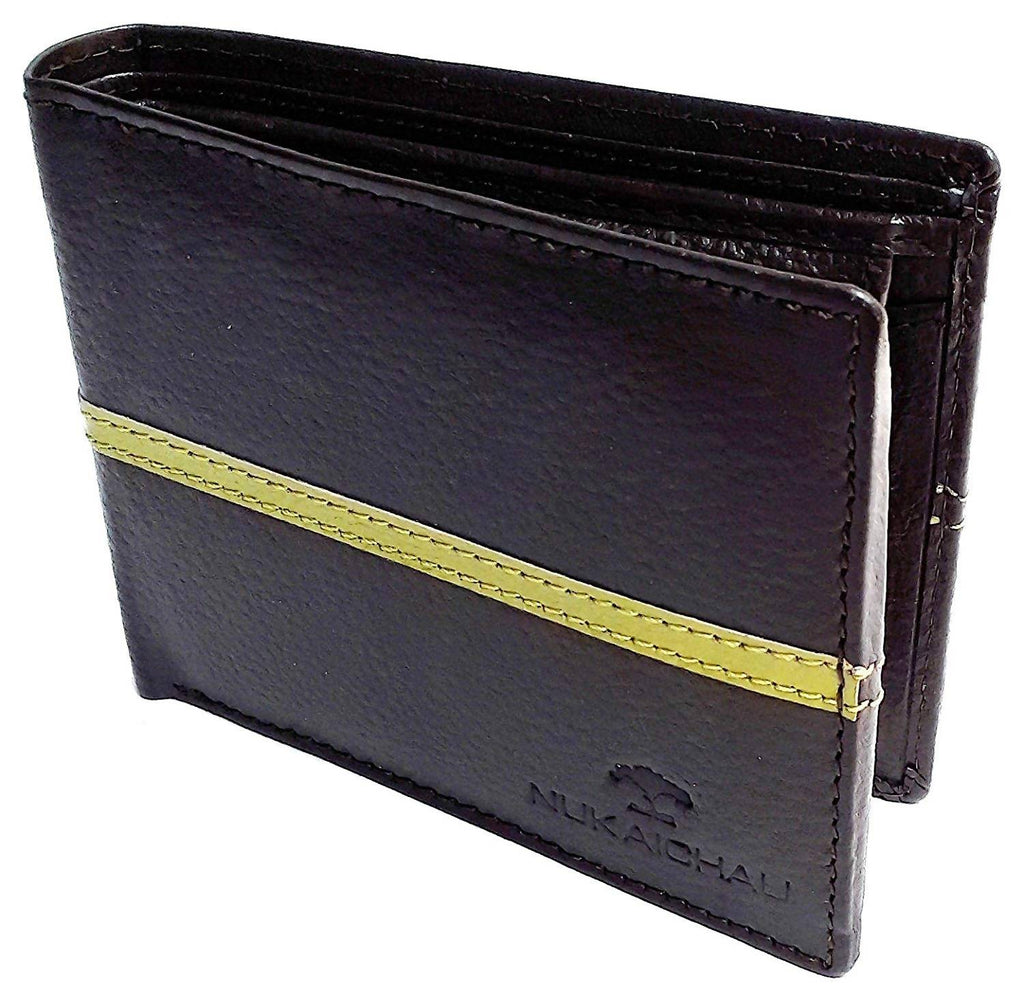 NUKAICHAU Black Green Single Fold Men's Leather Wallet