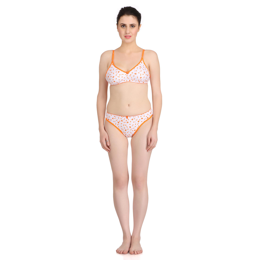Neon Carrot Wire-free Moulded Bikini Set-907