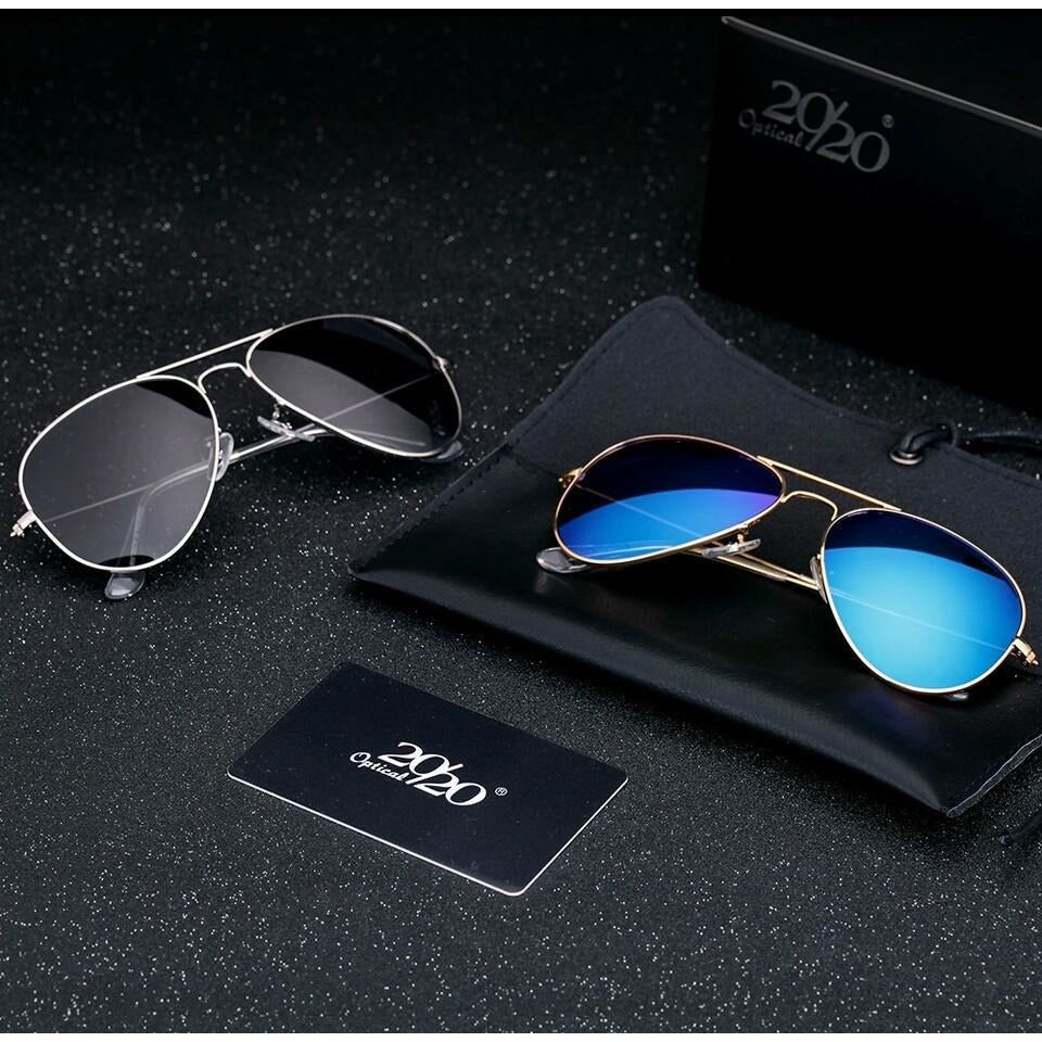 Combo Sunglasses Blue Mercury & Black Aviator Goggles For Unisex