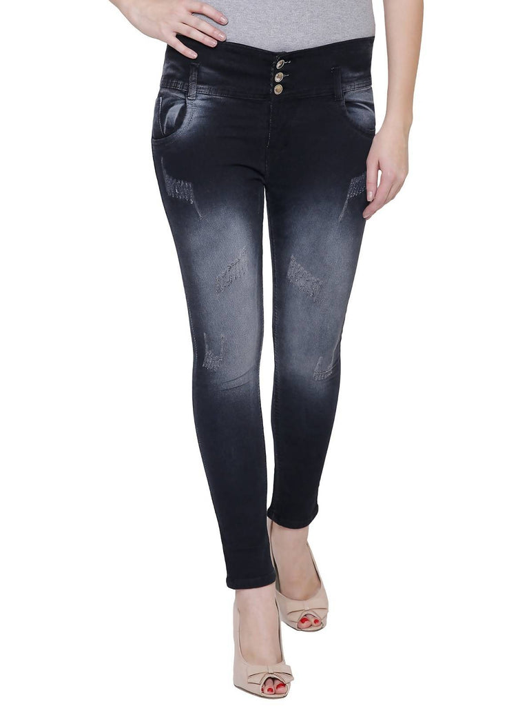 NJ's, Women Skinny Fit, Black, Dobby Denim Jeans