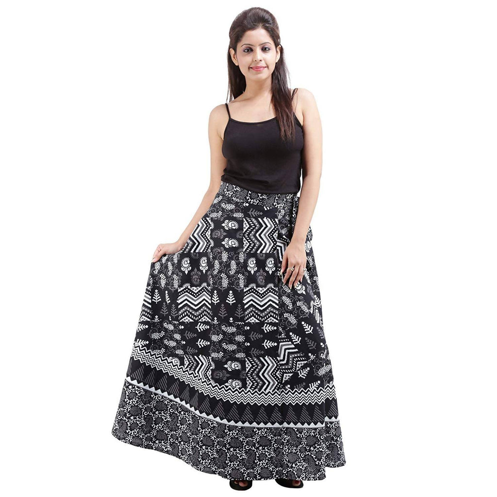 DHRUVI Stylish Casual Wear Free Size Floral Print Wrap Around Rajasthani Women Skirt (Black & White)