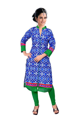 State Blue & Green Kurtis Quality Cotton Cambric Print