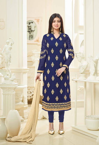 Reeva Trendz Women's Navy Blue Heavy Semi-Sttiched Salwar Suit
