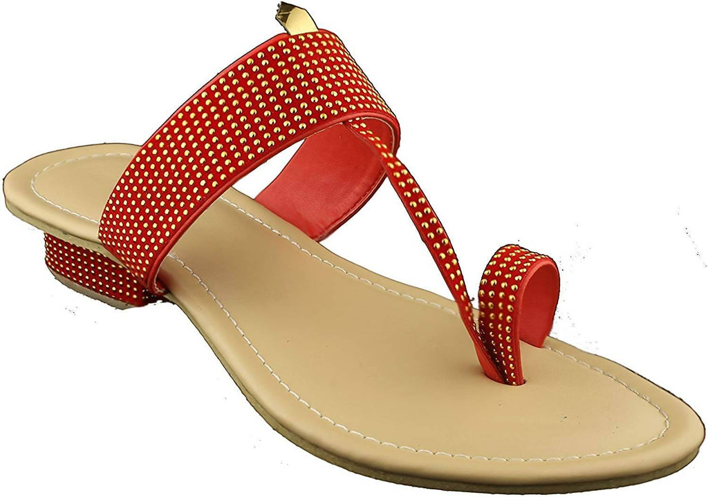 8048153d8ebe Foot Wagon Women s Traditional Chappal with Gold   Red Starps SDL-30 ...