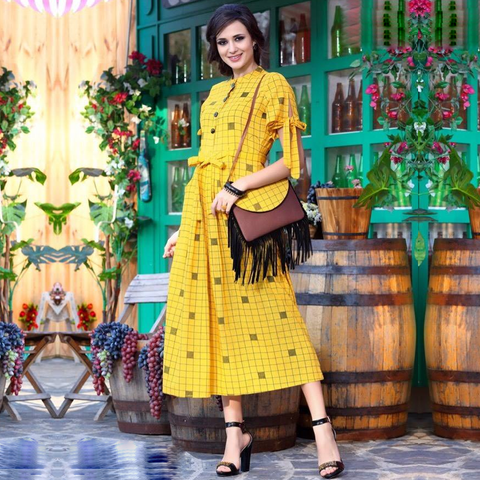 Fendi Cotton, Stylish and fresh look Long Ankle-length Kurtis for Party Wear