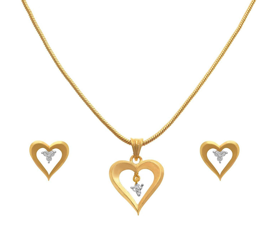 JFL - Jewellery for Less Fusion Ethnic 1g Gold Plated Heart Shape Cz American Diamond Pendant Set for Women