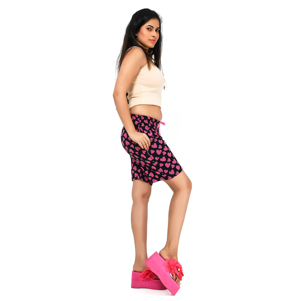 Super Soft Cotton Fabric Hosiery Printed Ladies Shorts- PSA