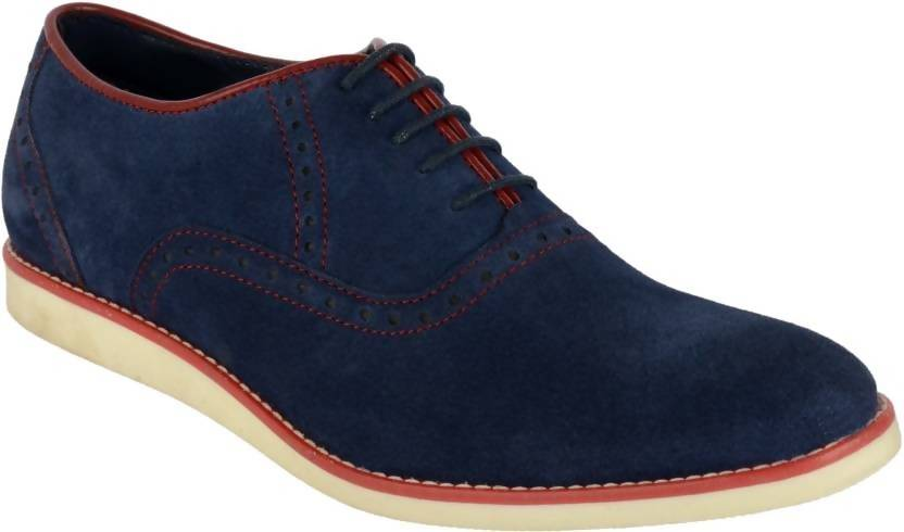 Goosebird Men's Suede Leather Oxford Shoes Casual Lace up Dress Shoes Casuals For Men  (Blue)