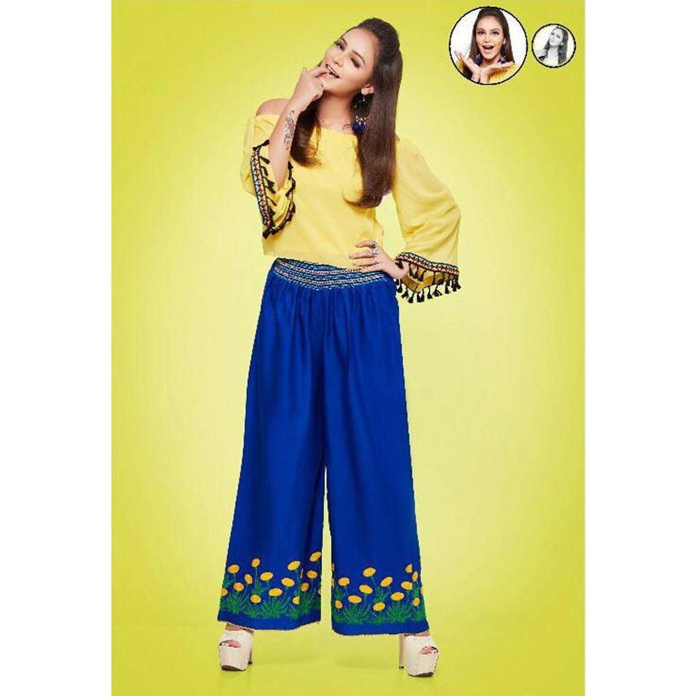 Psyna Embroidery on Royal Blue Palazzos for Ladies