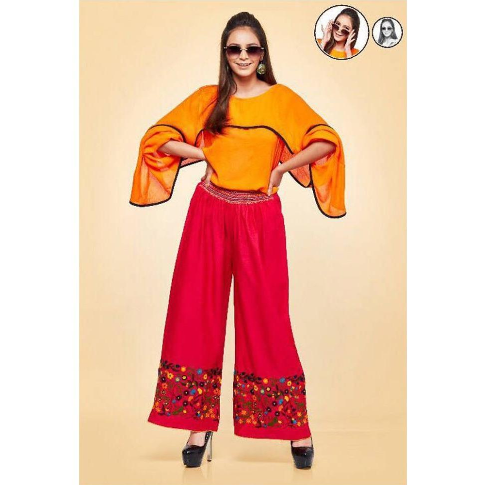 Psyna Embroidered Sunset Color Palazzos for Ladies