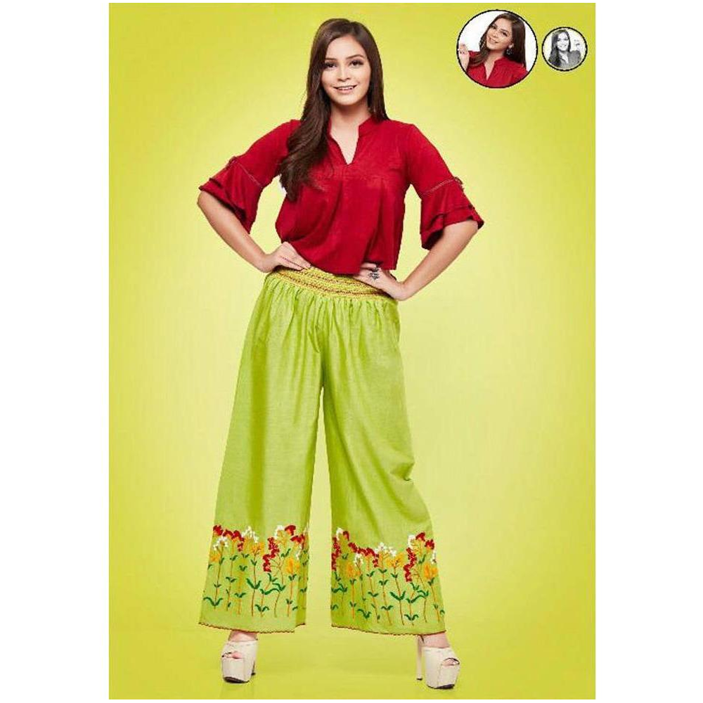 Psyna Beauty Palazzos for Ladies In Neon Color Base