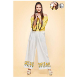 Psyna White and Yellow Embroidered Work Palazzo for Ladies