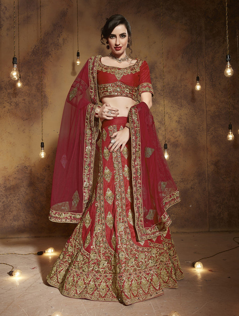Red Tourky Silk A-Line Semi-Stitched Lehenga Choli