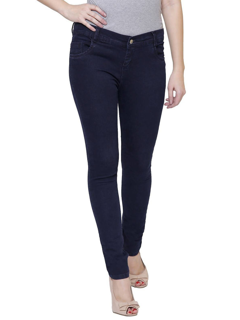 Pavis, Women Skinny Fit, Navy Blue, Dobby Denim Jeans
