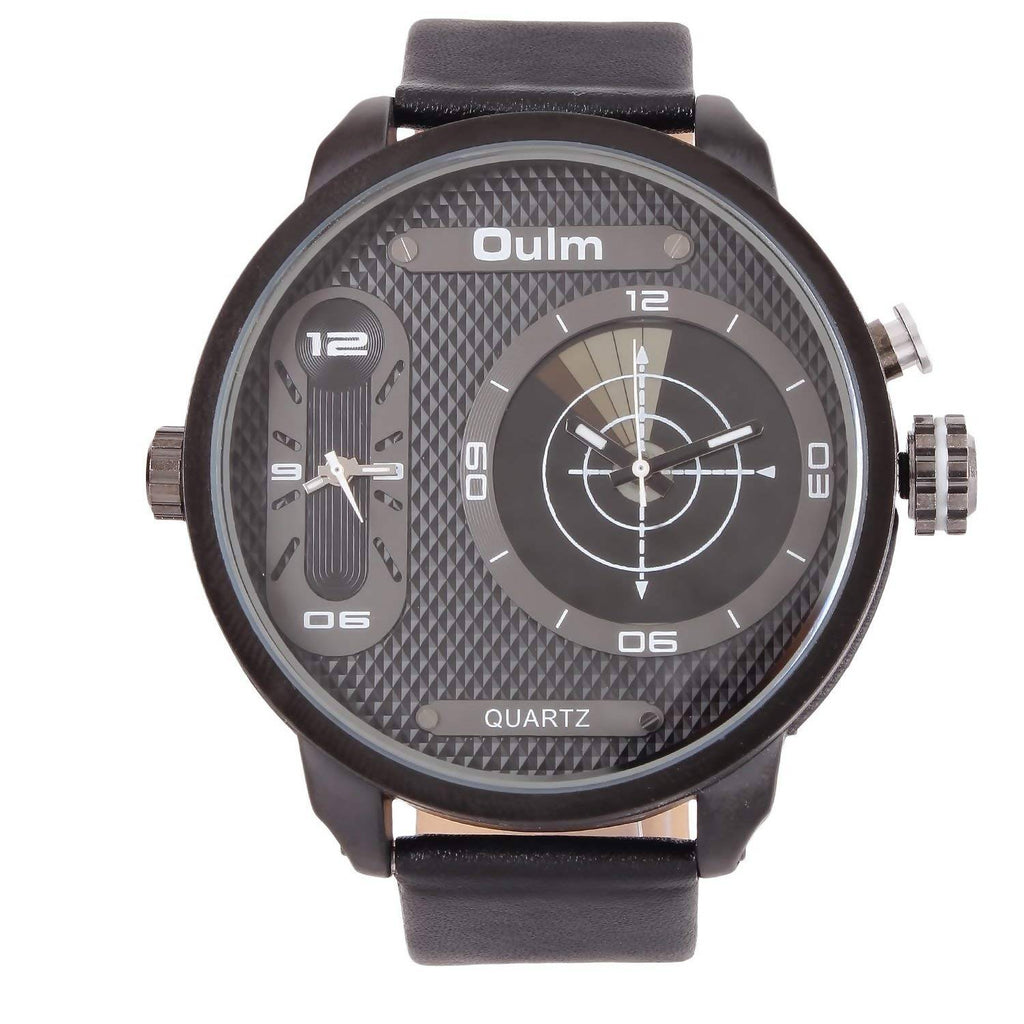 Oulm HP3221BBL Multifunction Black Dial Leather Strap Wrist Watch / Casual Watch - For Men's