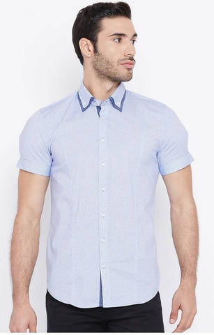 Mixtakes Light Blue Cotton Casual Shirt
